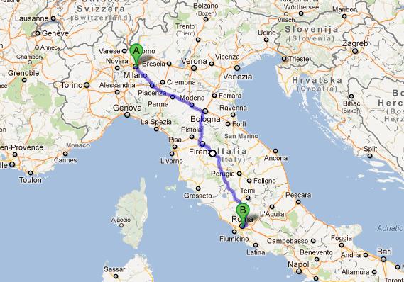 Harta Milano - Roma