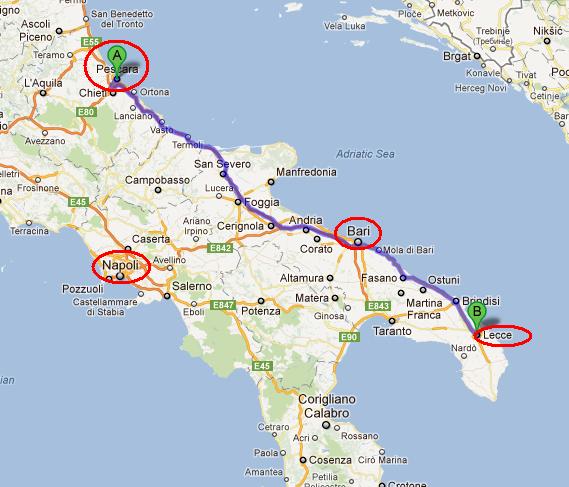 Harta Sud-Estul Italiei